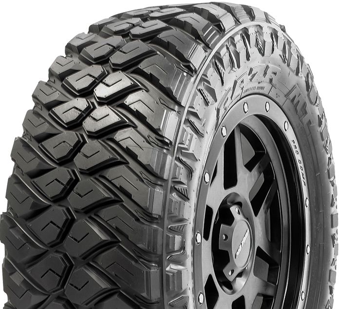 Maxxis RAZR MT tire with new off-road compound featuring new chemical fillers for maximum tear resistance and tread life.