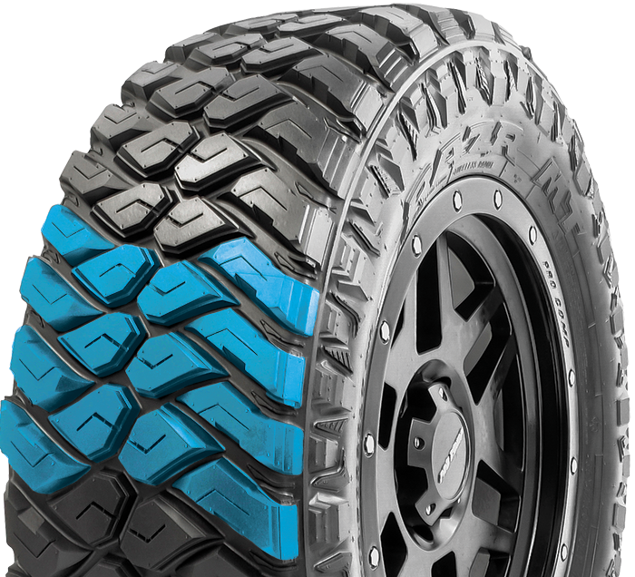 Maxxis RAZR MT tire design featuring deeply sculptured center blocks that maximize off-road traction while retaining a quieter ride.