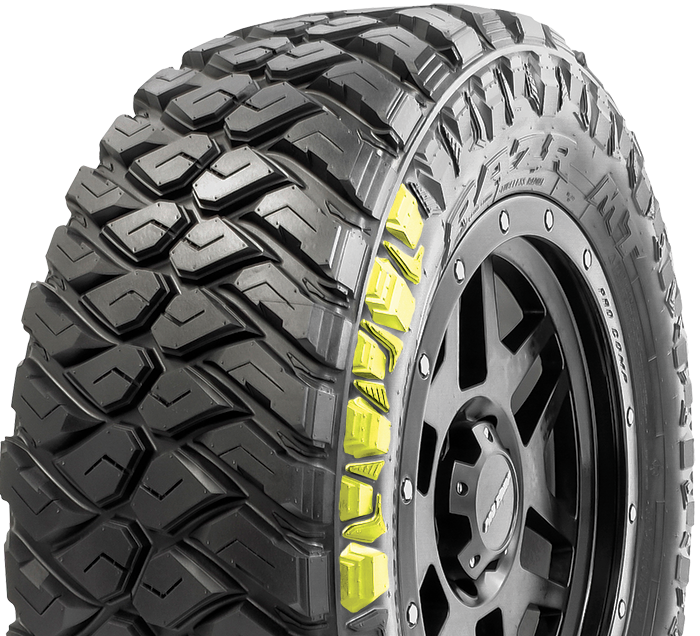 Maxxis RAZR MT tire with Innovative armor sidewall design maximizes sidewall traction and puncture resistance.
