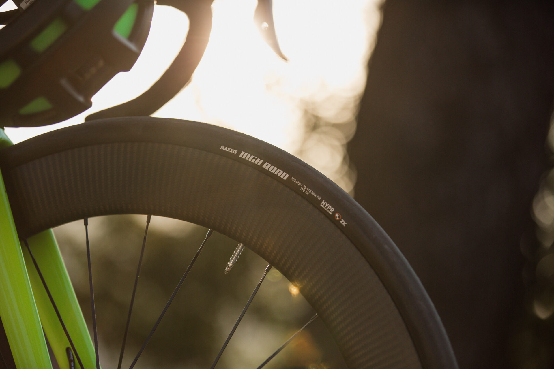Maxxis High Road bicycle tire - side view.