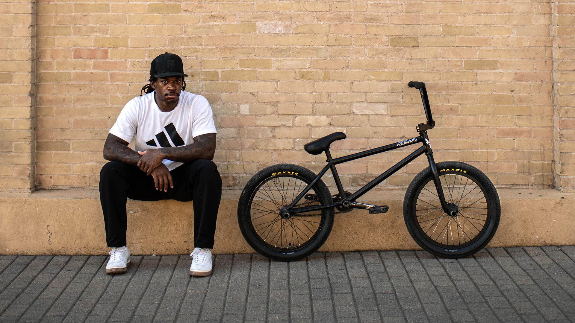 Brad Simms and his BMX bike