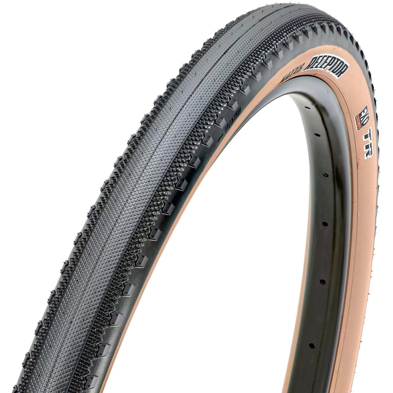 Maxxis Receptor bicycle tire with tan sidewall.