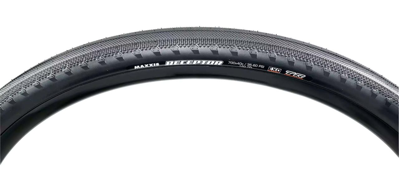 Close-up of Maxxis Receptor bicycle tire sidewall