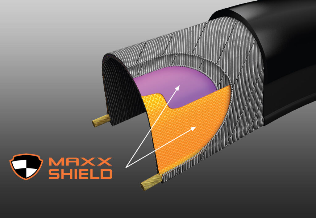 Diagram of Maxxis MaxxShield protection for bicycle tires.