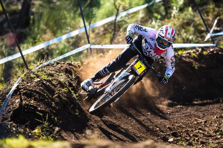 Santa Cruz DH rider hitting berm